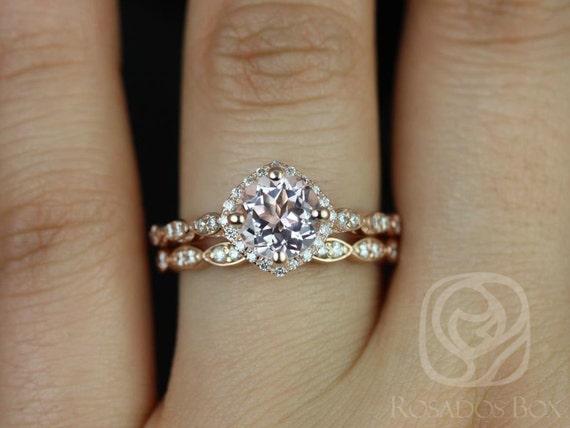 Round Morganite Diamonds Kite Cushion Halo WITHOUT Milgrain Wedding Set Rings Rings, 14kt Solid Rose Gold, Katya 7mm, Rosados Box