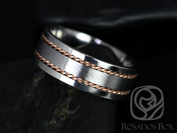 Rosados Box Kamil 8mm 14kt Rose Gold & Cobalt Straight Pipe Double Braided Band