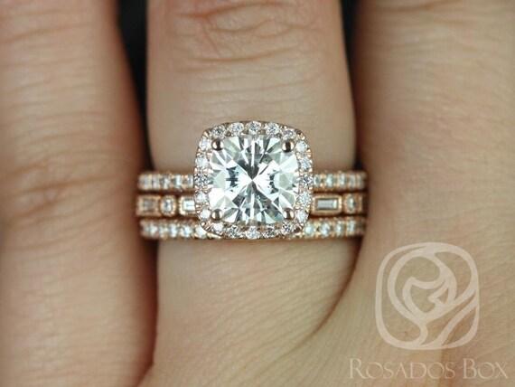 Rosados Box Mariah 7.5mm & Ivanna 14kt Rose Gold Cushion Forever One Moissanite Diamond TRIO Wedding Set