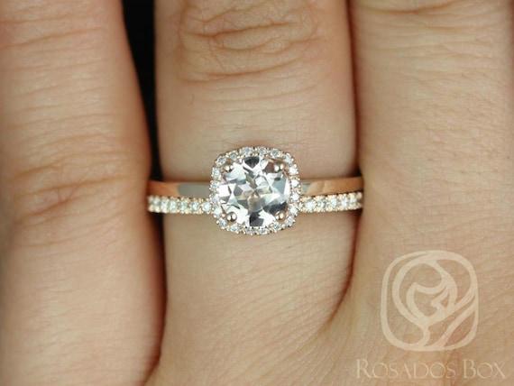 Morganite Diamonds Cushion Halo Wedding Set Rings Rings . 14kt Solid Rose Gold . Ready to Ship . Bella 6mm & Romani . Rosados Box