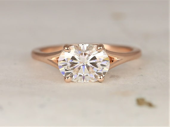 2cts Margo 9x7mm 14kt Rose Gold Forever One Moissanite Split East West Minimalist Oval Solitaire Engagement Ring,Rosados Box