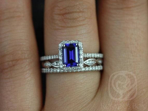 Rosados Box Lisette 7x5mm & Ember 14kt White Gold Emerald Cut Blue Sapphire and Diamonds Halo TRIO Wedding Set