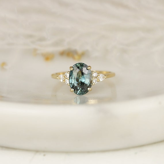 3.27ct Ready to Ship Cindy 14kt Solid Gold Peacock Jungle Teal Sapphire Diamond Cluster 3 Stone Oval Engagement Ring,Rosados Box