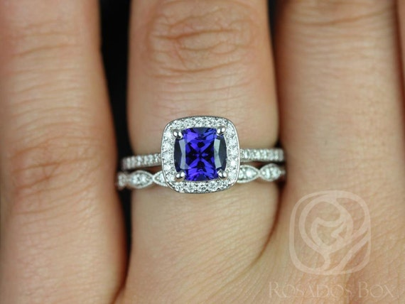 Rosados Box Hollie 6mm & Christie 14kt Cushion Blue Sapphire and Diamonds Halo Wedding Set