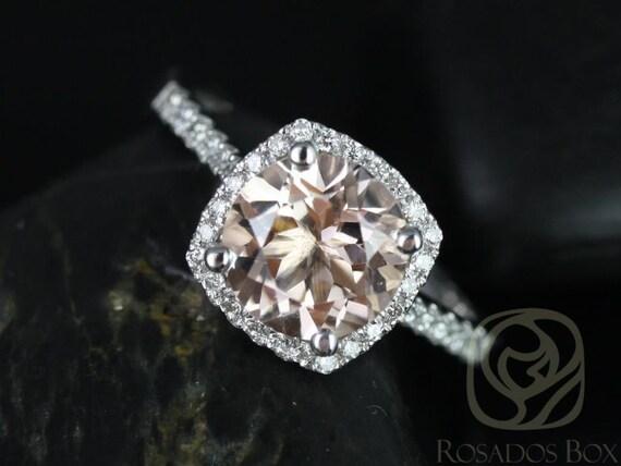 Rosados Box Samina 8mm 14kt White Gold  Morganite and Diamonds Cushion Halo Engagement Ring