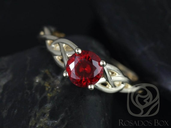 6mm Round Ruby Celtic Love Knot Triquetra Engagement Ring,14kt Solid Yellow Gold,Cassidy 6mm,Rosados Box