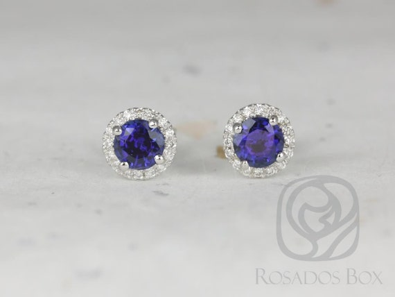 Rosados Box Ready to Ship Gemma 5mm 14kt White Gold Round Blue Sapphire and Diamonds Halo Stud Earrings