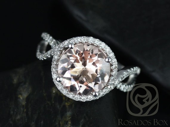 Rosados Box Kendra 10mm 14kt White Gold Round Morganite Diamonds Halo Twisted Engagement Ring