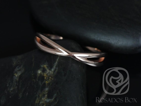 PLAIN Skinny Lima 14kt Solid Rose Gold Dainty Infinity Criss Cross Wedding Band Ring,Rosados Box