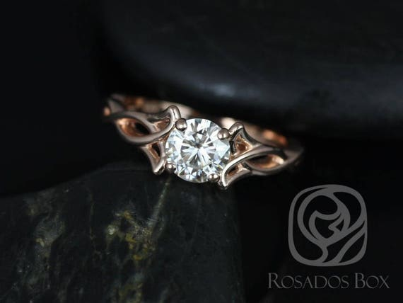 0.75cts Orla 6mm 14kt Rose Gold Forever One Moissanite Celtic Love Knot Triquetra Round Engagement Ring,Rosados Box