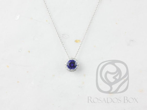 Rosados Box Ready to Ship Gemma 5mm 14kt White Gold Round Blue Sapphire and Diamonds Halo Floating Necklace