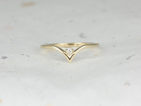 Sansa 14kt Gold Dainty Mini Chevron Diamond V Ring Stacking Ring (S.L.A.Y. Collection),Rosados Box