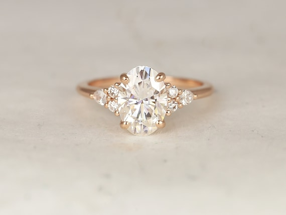 Ready to Ship Cindy 10x7mm 14kt YELLOW Gold Forever One Moissanite Diamonds Cluster 3 Stone Elongated Oval Engagement Ring,Rosados Box