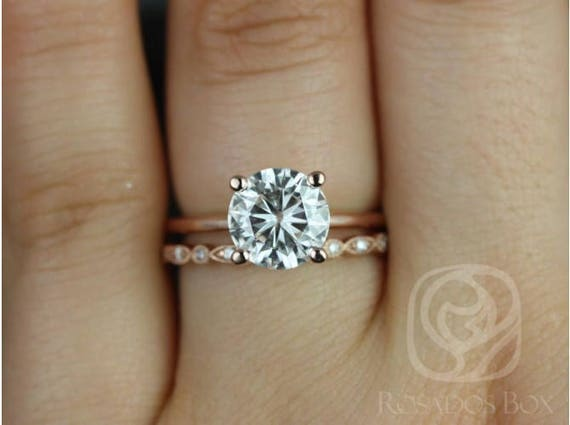 Ready to Ship Skinny Alberta 8mm & Gwen 14kt WHITE Gold Round Forever One Moissanite Diamond Wedding Set Rings,Rosados Box