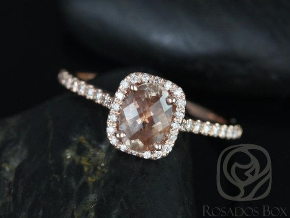7x5mm Oval Sunstone Diamonds Thin Cushion Halo Engagement Ring, Romani 7x5mm,14kt Rose Gold,Rosados Box