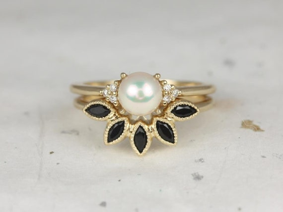 6mm Pearl Sapphire Onyx Cluster 3 Stone Wedding Set Rings ,14kt Solid Yellow Gold,Mio 6mm & Petunia,Rosados Box