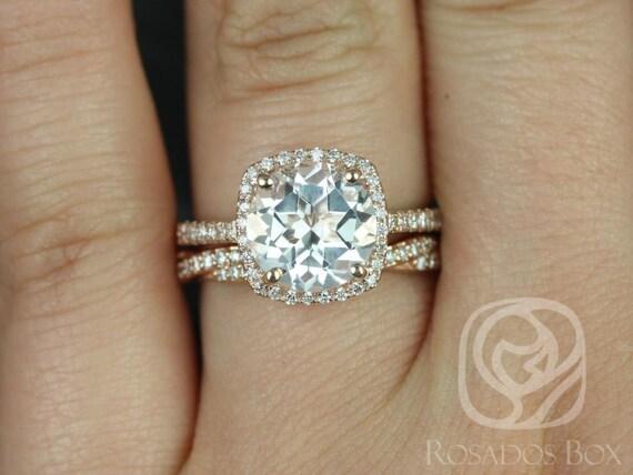 Rosados Box Barra 9mm & Twyla 14kt Rose Gold Round White Topaz Diamond Cushion Halo Wedding Set Rings