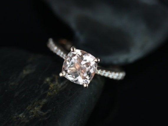 Rosados Box Taylor 8mm 14kt Rose Gold Cushion Morganite and Diamonds Cathedral Engagement Ring