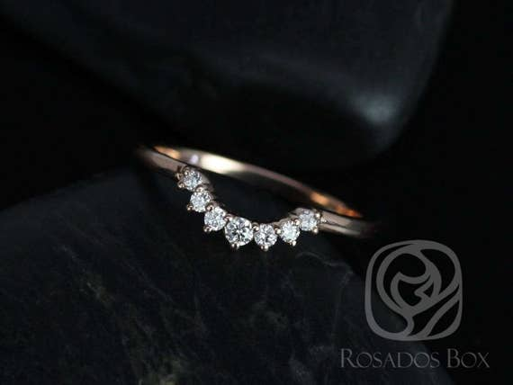 Rayna 1.0 14kt Solid Rose Gold Tiara Crown Diamonds Nesting Ring, Matching Curved Band to Gloria 8x6mm,Rosados Box