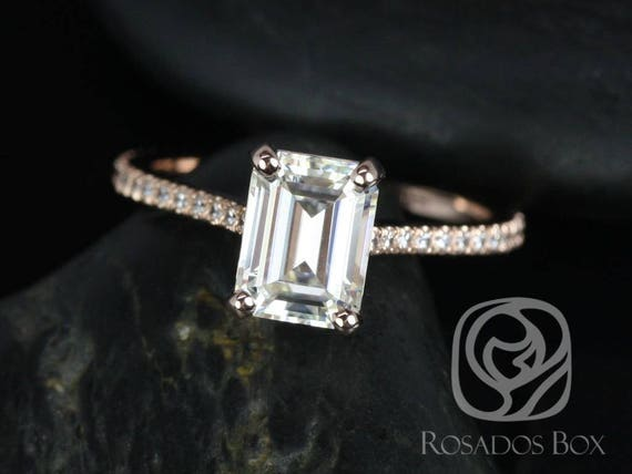 Rosados Box Wilma 8x6mm 14kt Rose Gold Emerald F1- Moissanite and Diamonds Engagement Ring