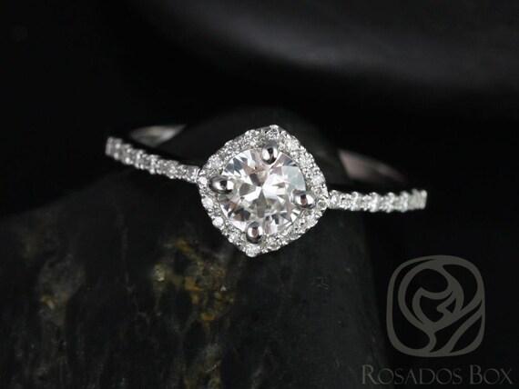 Kitana 5mm 14kt White Gold White Sapphire Diamonds Dainty Thin Pave Kite Cushion Halo Engagement Ring,Rosados Box