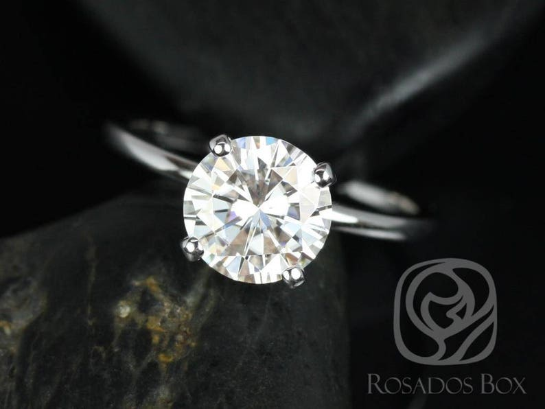 47b06b0d62d70 2ct Sandra 8mm 14kt White Gold Forever One Moissanite Diamond Basket Accent  Non-Cathedral Round Solitaire Engagement Ring,Rosados Box