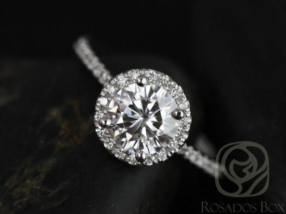 1ct Round Forever One Moissanite Diamonds Thin Pave Halo Engagement Ring,14kt Solid White Gold,Kimberly 6.5mm,Rosados Box