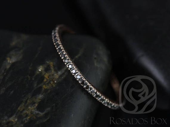 Rosados Box Ready to Ship Ninette 14kt WHITE Gold Ultra Thin Black Diamond FULL Eternity Band