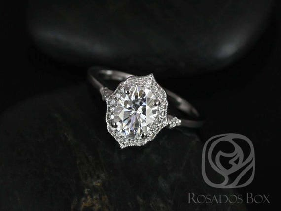 Rosados Box Ready to Ship Mae 8x6mm 14kt ROSE Gold Oval F1- Moissanite and Diamond Halo WITH Milgrain Engagement Ring