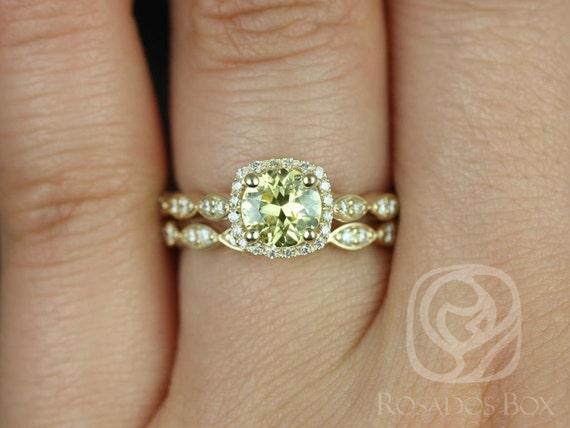 Rosados Box Ready to Ship Christie 1.05cts 14kt Yellow Gold Round Lemon Yellow Sapphire Diamonds Halo Wedding Set Rings
