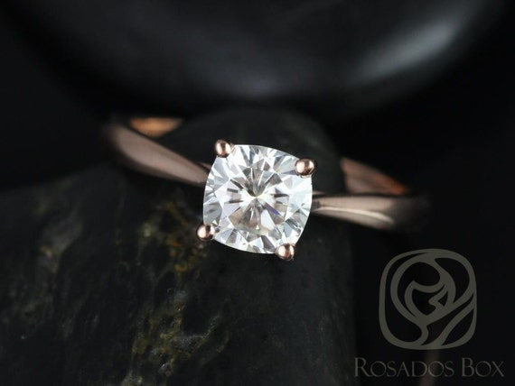 Rosados Box Florence 6.5mm 14kt Rose Gold Cushion F1- Moissanite Cathedral Solitaire Engagement Ring