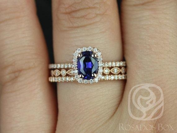 Rosados Box Romani 7x5mm & Ult Pte Bead Eye 14kt Rose Gold Oval Blue Sapphire and Diamond Halo TRIO Wedding Set