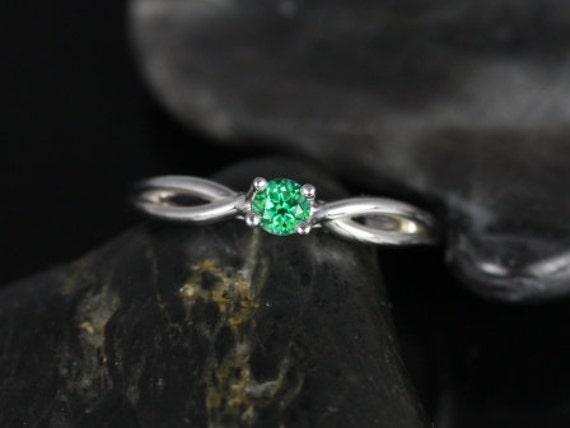 Rosados Box Erika 3.5mm 14kt White Gold Round Rainforest Green Topaz DoubleTwist Engagement Ring