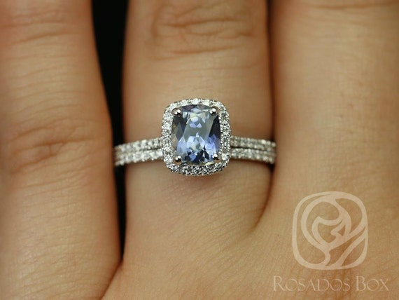Rosados Box Ready to Ship Romani 1.76cts 14kt White Gold Cushion Silver Cornflower Blue Sapphire Diamonds Halo Classic Wedding Set