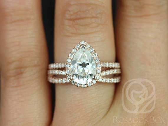 2cts Tabitha 10x7mm & Skinny Lima 14kt Rose Gold Forever One Moissanite Diamonds Infinity Pear Halo Wedding Set Rings Rings,Rosados Box