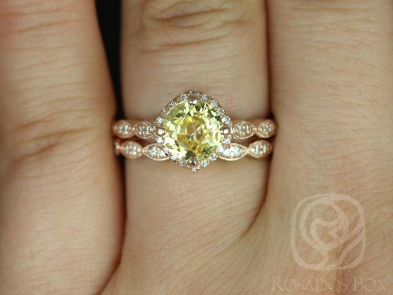 Yellow Sapphire Diamonds Kite Cushion Halo WITH Milgrain Wedding Set Rings, 14kt Solid Rose Gold, Ready to Ship Katya 2.06cts, Rosados Box