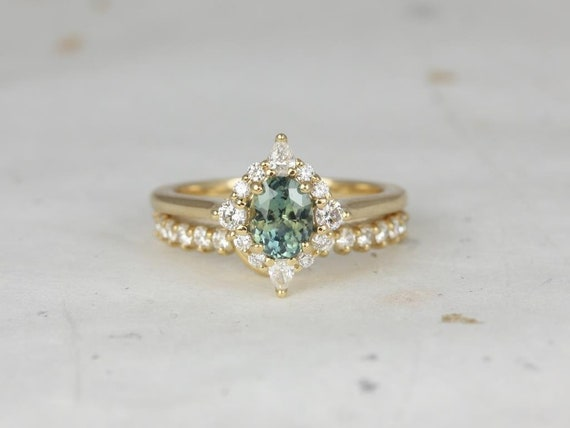 0.92ct Ready to Ship Maris 14kt Gold Oval Jungle Teal Sapphire Diamonds Star Unique Oval Halo Wedding Set Rings,Rosados Box