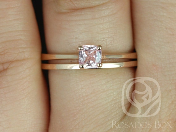 0.47ct Cushion Peach Champagne Sapphire Solitaire Wedding Set Rings,14kt Rose Gold,Ready to Ship Gallina 0.47cts & PLAIN Barra,Rosados Box