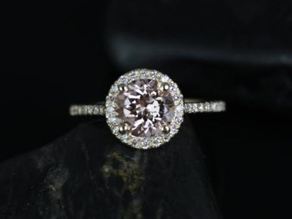 7mm Round Morganite Diamonds Dainty Pave Halo Engagement Ring,14kt Solid Yellow Gold,Kubian 7mm,Rosados Box