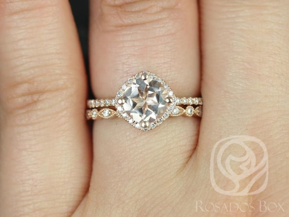 Kitana 7mm & Gwen 14kt Rose Gold Morganite Diamond Dainty Thin Micropave Cushion Kite Halo Wedding Set Rings,Rosados Box