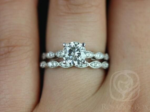 Rosados Box Helena 6.5mm 14kt White Gold Thin 1ct Round Forever One Moissanite Diamonds Wedding Set Rings