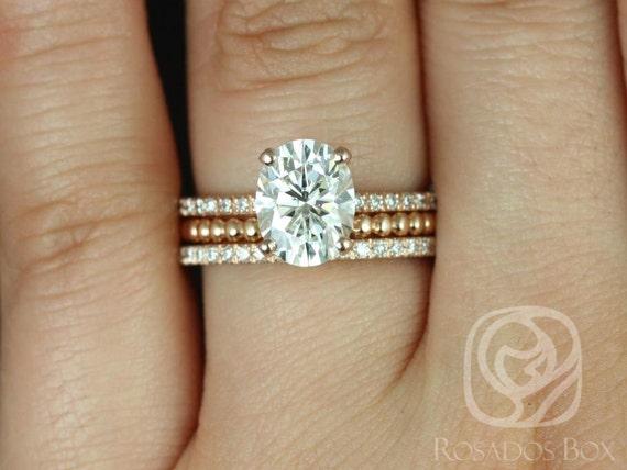 Rosados Box Hillary 9x7mm & Buddha Beads 14kt Rose Gold Oval Forever One Moissanite Diamond Basket TRIO Wedding Set Rings