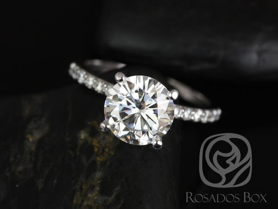 Rosados Box Sarah 8.5mm 14kt White Gold Round F1- Moissanite and Diamonds Classic Non-Cathedral Engagement Ring