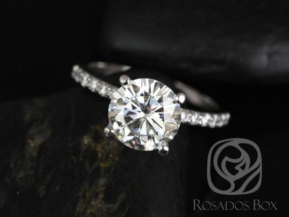 2.25ct Round Forever One Moissanite Diamonds Non-Cathedral Accent Solitaire Engagement Ring,14kt Solid White Gold,Sarah 8.5mm,Rosados Box