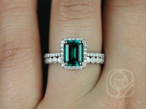 Esmeralda 8x6mm & Petite Bubbles WITH Milgrain 14kt Solid Gold Green Emerald Diamond Dainty Pave Halo Wedding Set Rings,Rosados Box