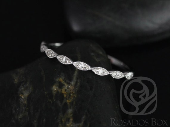 Ultra Petite Leah 14kt White Gold Dainty Diamond Art Deco WITH Milgrain Diamonds HALFWAY Eternity Band Stack Ring,Rosados Box