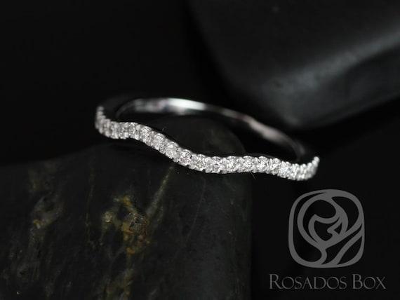 Rosados Box 14kt White Gold Matching Band to Gabi 7mm/Josephine 7mm Diamond HALFWAY Eternity Band