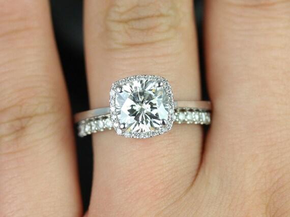 Forever One Moissanite Diamond Cushion Halo Wedding Set Rings , 14kt Solid White Gold , Bertha 7.5mm , Rosados Box