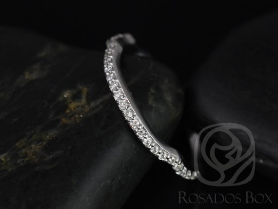 14kt White Gold Matching Band to Cassidy/Mara/Orla Diamond Prong HALFWAY Eternity Band Ring,Rosados Box