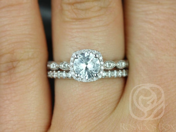 Rosados Box Christie 6mm & Callie 14kt White Sapphire and Diamond Cushion Halo WITH Milgrain Wedding Set